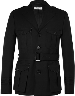 Saint Laurent Belted Wool-Twill Trench Coat