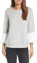 Gibson Women's Ruffle Sleeve Stripe Sweatshirt