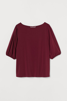 H&M Puff-sleeved boat-neck top