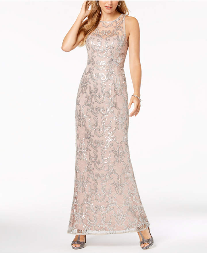 Adrianna Papell Lace Sequin-Embellished Gown