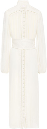 Zimmermann Belted Fil Coupe Georgette And Linen Midi Dress