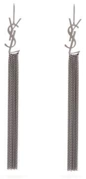 Saint Laurent monogram Tassel Earrings - Womens - Silver