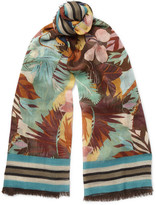 Valentino Printed Cashmere, Silk And Wool-blend Scarf