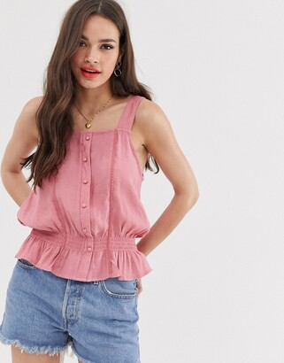 Pimkie button front with ruched waist in pink