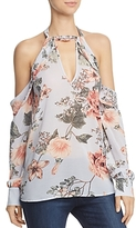 Bardot Cold-Shoulder Floral Print Halter Top