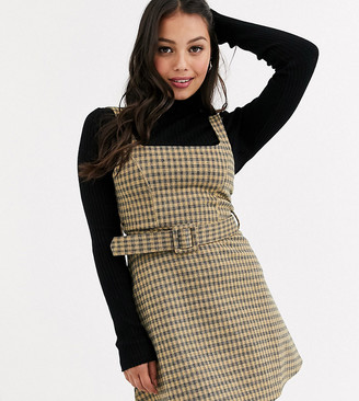 Topshop Petite pinafore dress with belt in mustard check