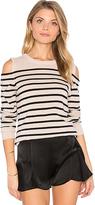 Autumn Cashmere Cold Shoulder Stripe Sweater in Gray. - size L (also in M,XS)
