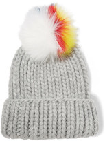 Eugenia Kim Rain Faux Fur-trimmed Cable-knit Wool Beanie - Light gray