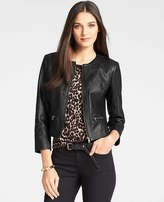 Ann Taylor Faux Leather Quilted Jacket