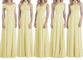 SongSurpriseMall Chiffon Bridesmaid Dress Women Multi Wearing Methods Evening Dresses Long Falten Prom Party Dress Wedding Cocktail Gown Light Yellow UK8