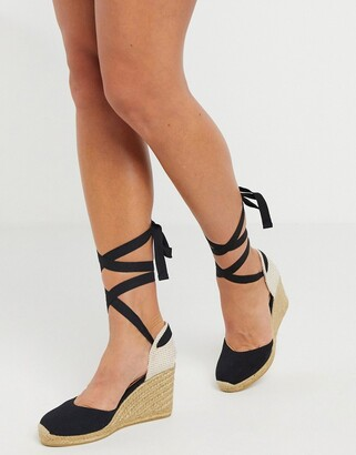 Aldo high espadrille wedges in black with ankle tie