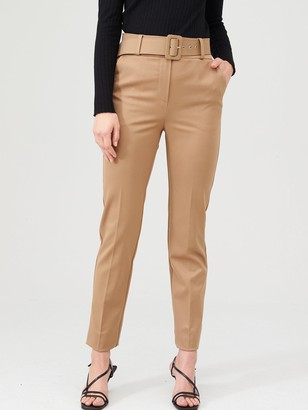 Very Belted Straight Leg Trousers - Camel