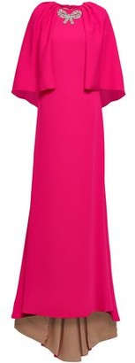 Reem Acra Cape-effect Embellished Crepe Gown