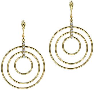 Argentovivo 18K Over Silver Cz Multi Ring Drop Earrings