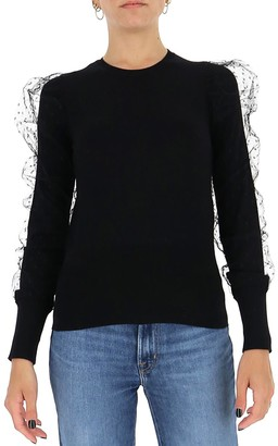 RED Valentino Tulle Sleeve-Detailed Sweater