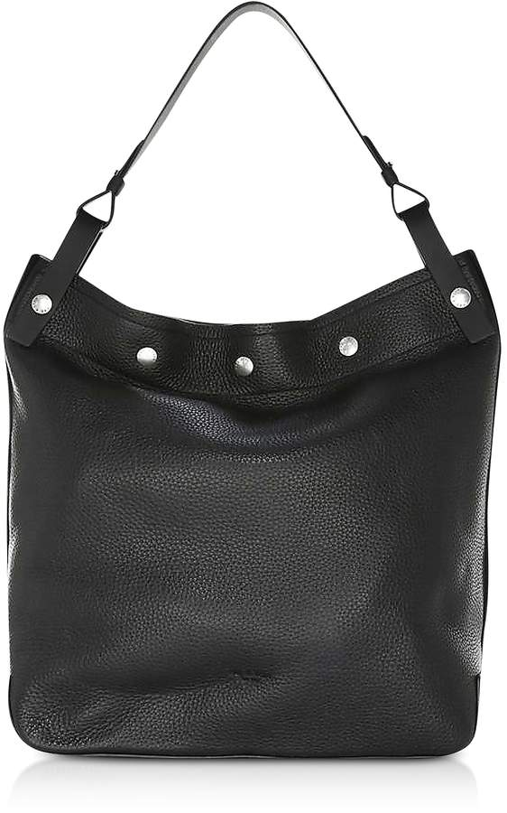 Rag & Bone Black Pebbled Leather Compass Snap Hobo Bag