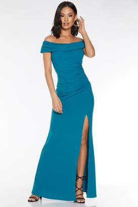 Quiz Teal Bardot Ruched Split Maxi Dress
