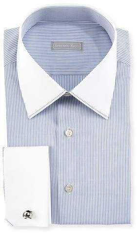 Stefano Ricci Contrast Collar/Cuff Thin-Striped Dress Shirt, White/Blue