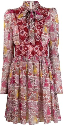 Giamba Pussybow Floral Print Dress