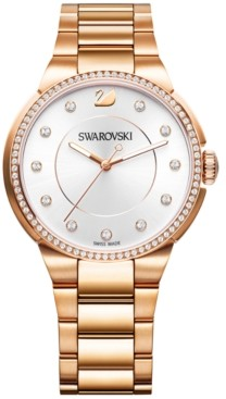 Swarovski Women's Swiss City Crystal Accent Rose Gold-Tone Stainless Steel Bracelet Watch 38mm