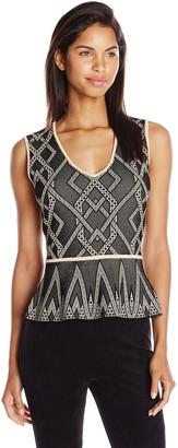 BCBGMAXAZRIA Women's Alonya Sweater Jacquard Peplum Top
