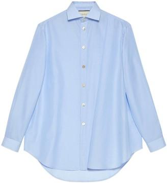 Gucci Asymmetric oversize striped cotton shirt