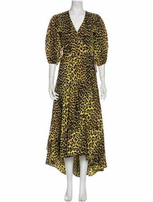Ganni Animal Print Midi Length Dress Yellow
