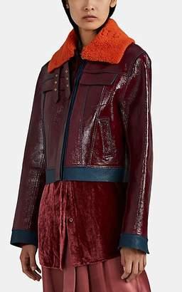 Sies Marjan Women's Gabbie Shearling-Trimmed Leather Jacket - Blue
