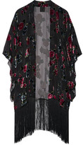 Anna Sui Fringed Floral-print Devoré Chiffon Kimono - Black
