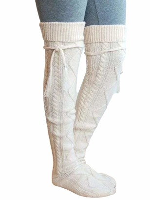 Springcmy Womens Girls Winter Cable Knit Over Knee Socks Thigh High Long Boot Socks Stocking Leg Warmer (A-Grey One Size)