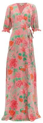 Beulah - Alisha Floral-print Silk Wrap Dress - Womens - Pink Multi