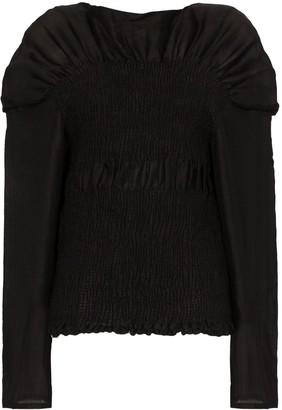 Totême Coripe ruched boat-neck blouse