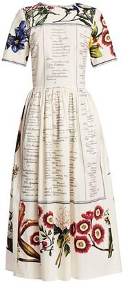 Oscar de la Renta Floral & Cursive Print Midi A-Line Dress