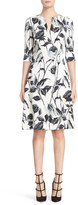 Naeem Khan Women's Floral Print Notch Neck A-Line Dress