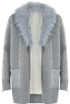 River Island Womens Grey faux fur collar cardigan