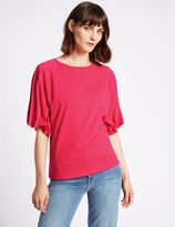 Marks and Spencer Pure Cotton Round Neck Pinch Sleeve T-Shirt