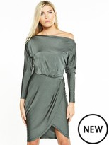 AX Paris Off Shoulder Slinky Dress - Khaki