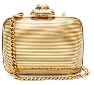 Alexander McQueen Mini Crystal-embellished Metal Clutch - Womens - Gold