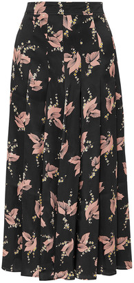 Co Pleated Floral-print Silk-satin Midi Skirt