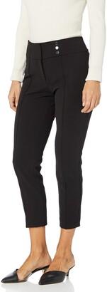 Kasper Women's Drapey Crepe Pant with Front Button Detail