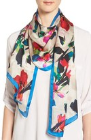 Vince Camuto Women's Fancy Floral Print Silk Scarf