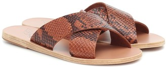 Ancient Greek Sandals Thais snake-effect leather slides
