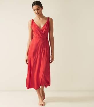 Reiss Leonie - Wrap Midi Dress in Red