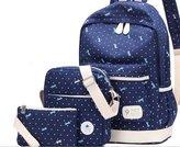 Janelysha 3 sets Hotupsale Korean Fresh Dot Shoulder Canvas Travel Casual Backpack Bag Women Handbags