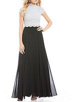Jodi Kristopher Beaded Neckline Lace Top Two-Piece Long Dress
