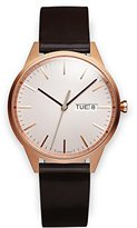 Uniform Wares C40 PVD Rose Gold Shell Cordovan Unisex Quartz Watch with Grey Dial Analogue Display And Brown Leather Strap