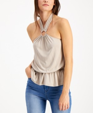 INC International Concepts Inc O-Ring Peplum Halter Top, Created for Macy's
