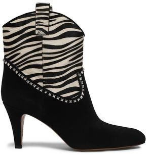 Marc Jacobs Georgia Studded Suede And Zebra-print Calf Hair Boots