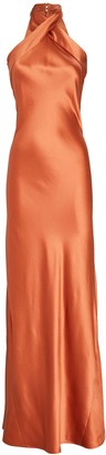 Galvan Eve Silk Halter Gown