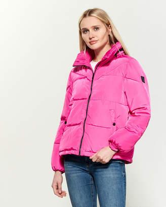 Steve Madden Funnel Neck Packable Hood Puffer Jacket